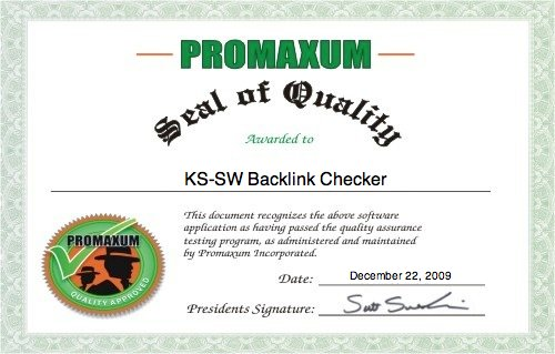 Seal of Quality for KS-SW Backlink Checker